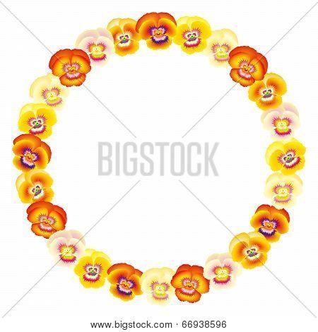 Pansy Orange Frame Circle