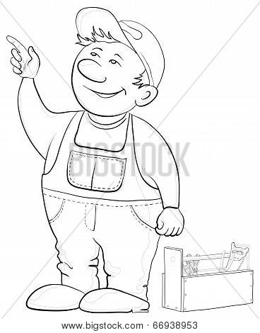 Worker with a toolbox, contours