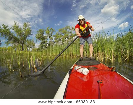 senior male paddler enjoying workout on stand up paddleboard (SUP), calm lake in Colorado, spring colors