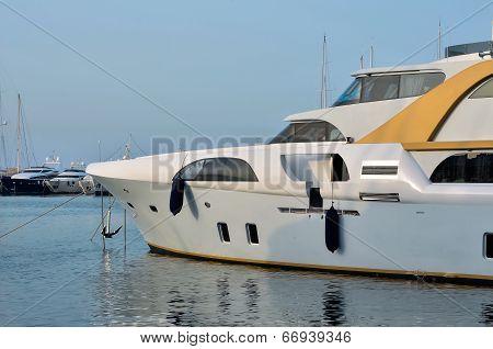 Luxury boat in the marina