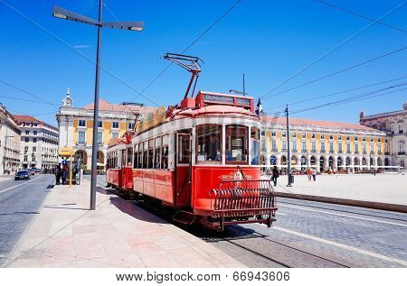 Lisbon, Portugal - May 11: Typical,Tramway on May 11, 2014. Beautiful Tramway in  Lisbon, Portugal, Europe