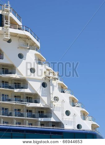 Big Cruise ship docked in port prow detail