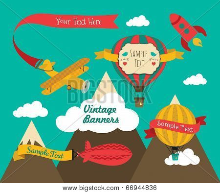 Vintage Air Vehicles Banner Design Set
