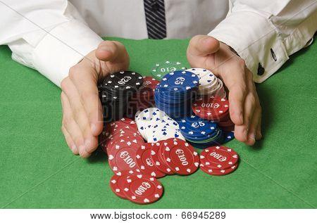 Hands Betting Casino Chips