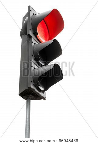 Black Traffic Lights With Red Stop Signal Isolated On White Background