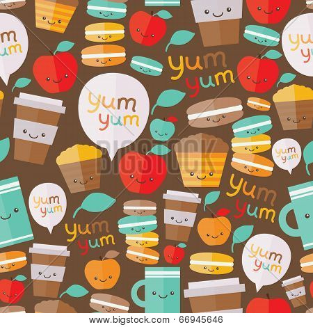 Cute food seamless pattern.