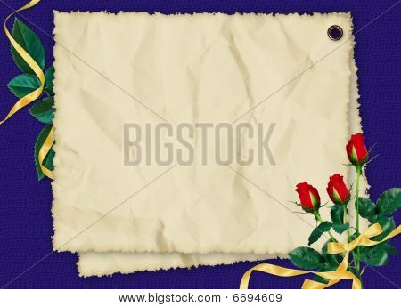 Crushed Paper With Roses And Ribbons On The Dark Blue Background