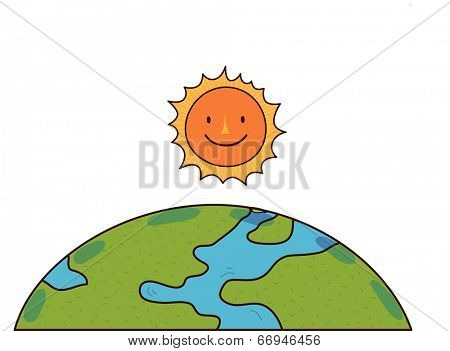 The view of earth with sun