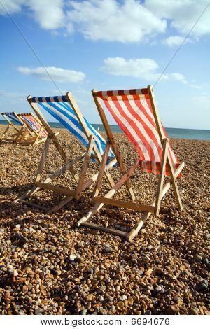 Deckchairs Beach Sea Windy