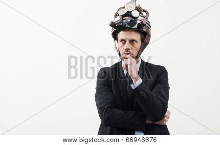 Creative Businessman With Steampunk Helmet
