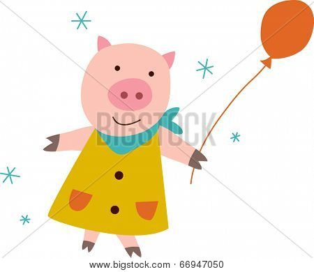 The view of pig with balloon
