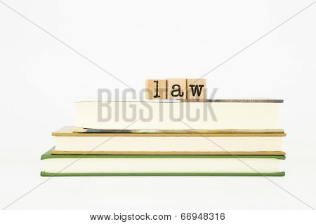 Law Word On Wood Stamps And Books Books