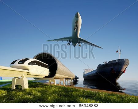 Train, airplane and tanker on the shore.