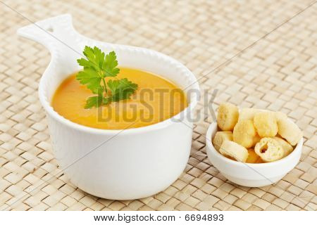 Cream Of Carrot Soup And Bread Croutons