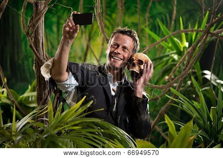 Selfie With Skull In The Jungle