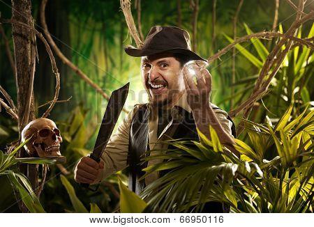 Explorer Finding A Treasure