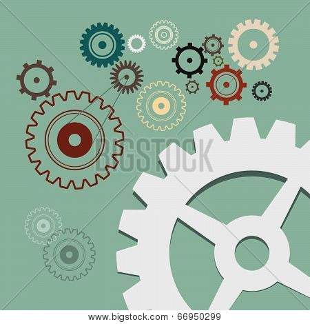 Cogs - Gears Retro Illustration