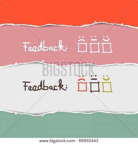 Vector Retro Torn Paper Feedback Background Template