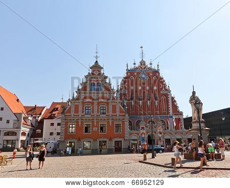 House Of Blackheads At Town Hall Square In Riga, Latvia