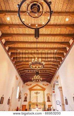 Mission San Luis Obispo De Tolosa California Wooden Ceiling Basilica Cross Altar