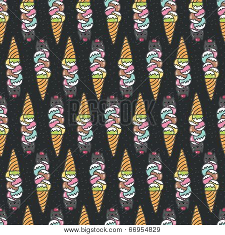 Seamless pattern with cute doodle cat ice cream.