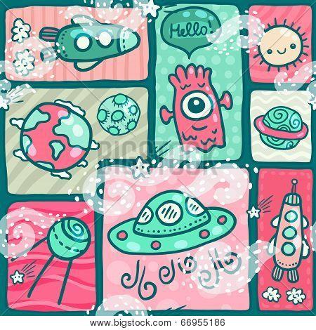 cute seamless Space pattern