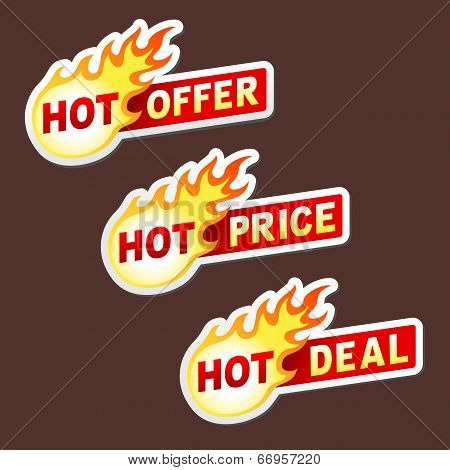 Hot offer, price and deal flame vector sticker badges