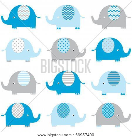Cute Baby Boy Elephant pattern