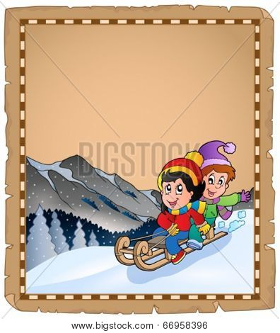 Parchment with children on sledge - eps10 vector illustration.