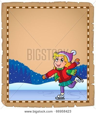 Parchment with girl skating on ice - eps10 vector illustration.