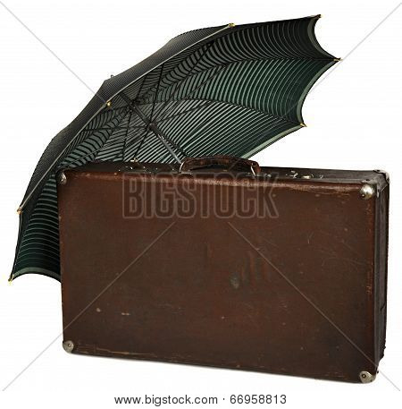 Vintage brown suitcase isolated on white background. clipping path