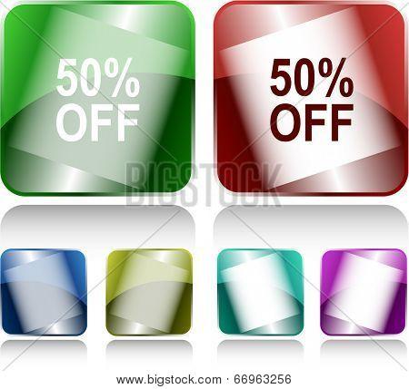 50% OFF. Internet buttons. Raster illustration.