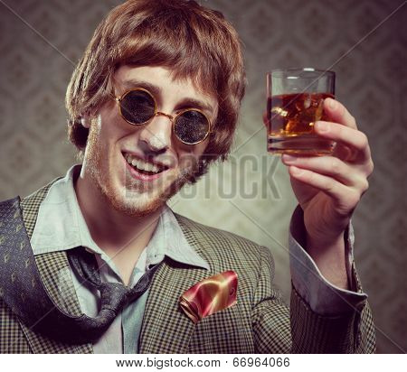 Vintage Guy Enjoying Drugs