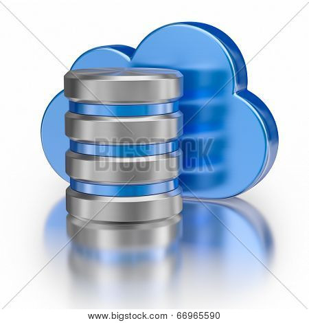 Remote database cloud computing technology storage concept - metal icon database icon and blue glossy cloud with reflection on white