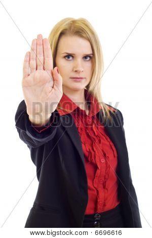 Businesswoman Saying Stop