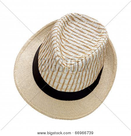 Weave Hat Isolated On White Background, Pretty Straw Hat Isolated On White Background
