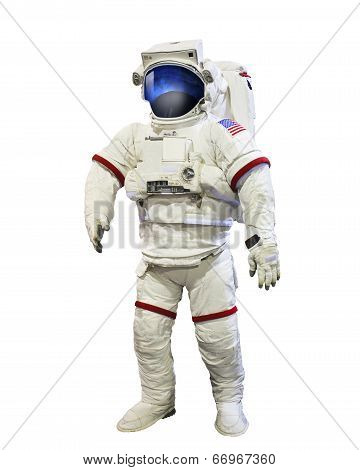 Nasa Astronaut Pressure Suit With Galaxi Space Reflection On Mask Isolated White Background