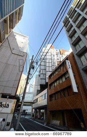 Shimbashi, Japan - : The Nakagin Capsule Tower In Tokyo