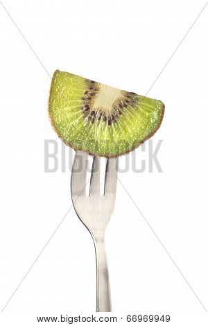 Kiwifruit Held By A Fork