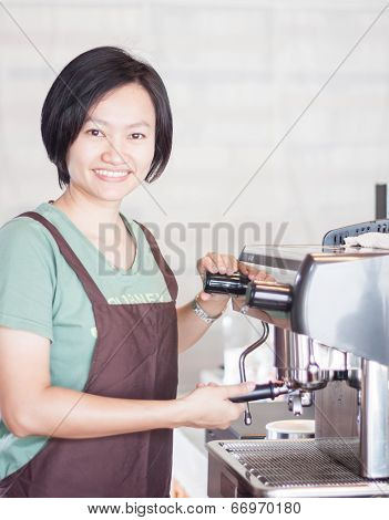 Woman Barista Enjoy At Work