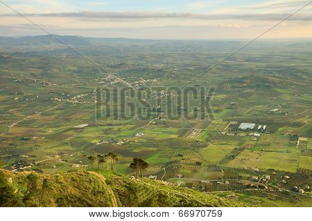 Picturesque View To The Fields In Rural Area And Hills With Trees