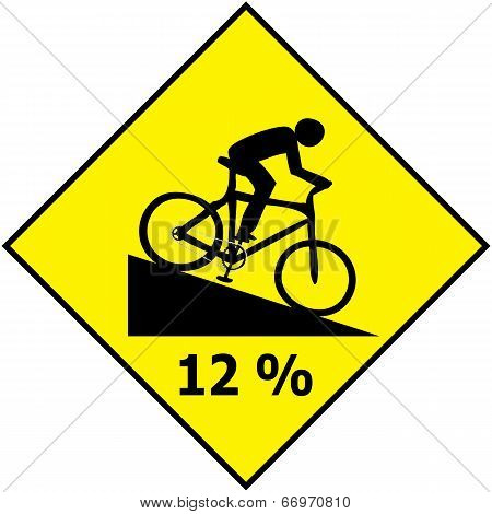 Bicycle Traffic Sign Show Downhill Slope Ratio Vector