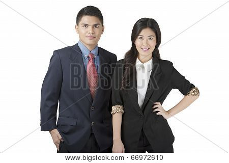 Young Professionals in Business Clothes