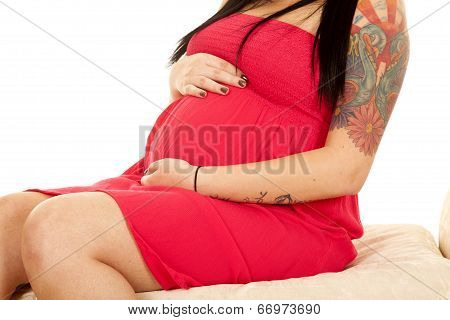 Pregnant Woman Red Dress Body Hold Close
