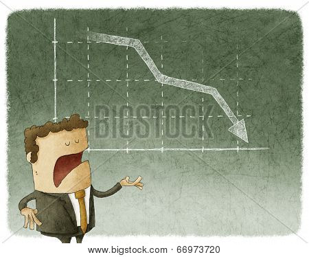 businessman and declining stock chart