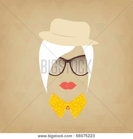 Hipster Lady. Accessories Hat, Sunglasses, Collar.