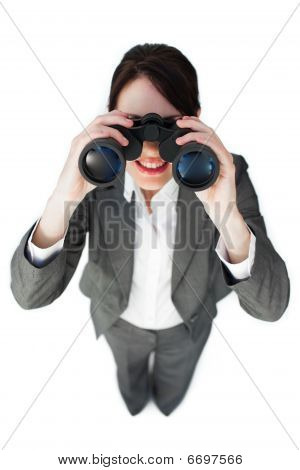 Self-assured Businesswoman Looking Through Binoculars