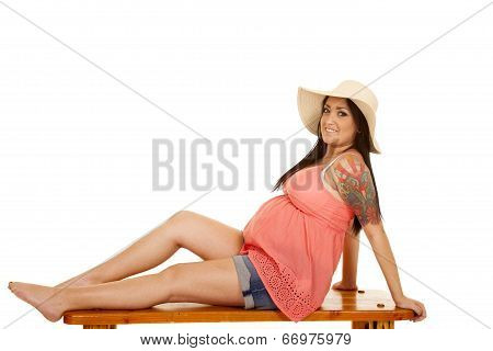 Woman Hat Tattoo Pink Shirt Sit Side Look