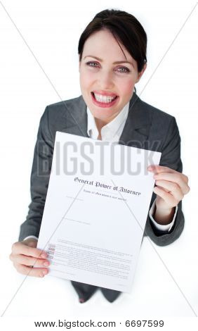 Radiant Businesswoman Showing A Legal Document