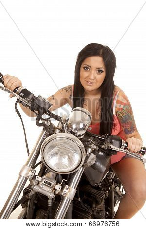 Woman Tattoo Pink Shirt Motorcycle Lean Forward